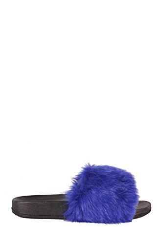 Cape Robin Cherrymad Moira-5 Mujeres Flip Flop Deslizamiento De La Piel Deslizamiento En Los Pisos Sandalias Zapato Zapato Furry Blue