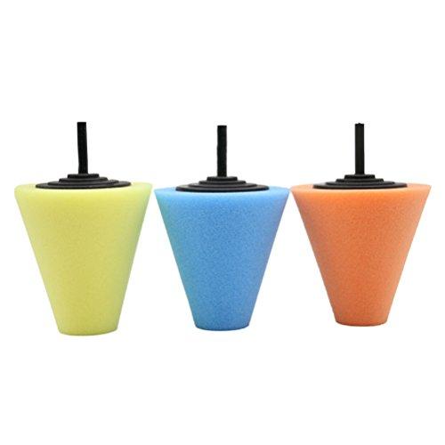 WINOMO 3PCS Auto Wheel Wash Sponge Cone-Shaped Foam Pad Polishing Wax Polishing Tool