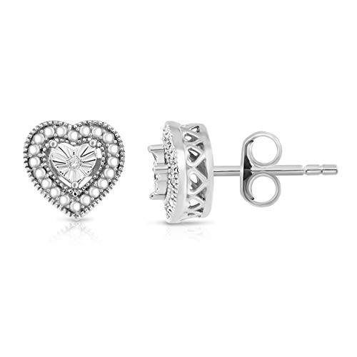 NATALIA DRAKE 14k White Gold Plated Diamond Accent Miracle Plate Heart Shape Filigree Border ()