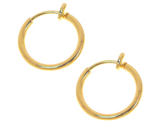 BodySparkle Body Jewelry Pair of 3/8 in. Gold Color Non Pierce Clip on Hoop Earrings-Clip on Lip Ring-Fake Nose -