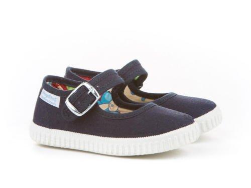 Zapatillas Merceditas de Lona para Niñas, Angelitos mod.123, Calzado Infantil Made in Spain, Garantia de Calidad. Azul Marino