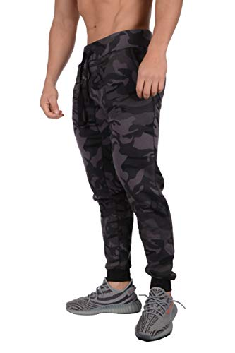 YoungLA Mens Slim Fit Joggers Fitness Activewear Sports Fleece Sweatpants for Gym Training (Camo Black, Large) (For Men Sportswear)