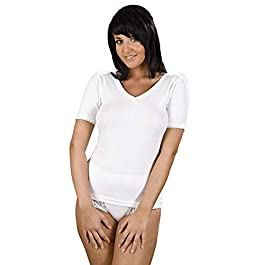 Ladies Thermal Underwear Short Sleeve Vest Women's T-Shirt White Delux Top Winter Warm Base Layer