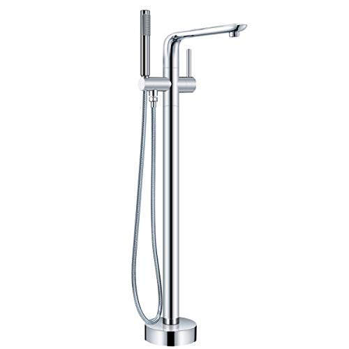 AOSGYA Freestanding Bathtub Faucet Floor Mount Tub Filler Lead Free Brass - with Handheld Shower, cUPC Certified, Chrome Finish