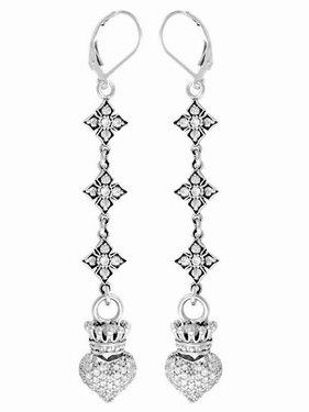 King Baby Studios Pave CZ MB Cross Chain Earrings w/Crowned Heart Drop Q60-5529