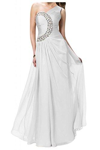 TOSKANA BRAUT Damen Ein-Schulter Sterne Chiffon Abendkleider Lang Brautjungfern Fest Party Ballkleider blanco