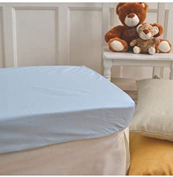 Lot de 10 draps-housses pour berceau en polyester et coton Bleu Minicuna 50x80cm