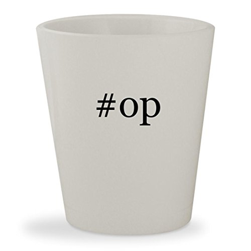 #op - White Hashtag Ceramic 1.5oz Shot Glass
