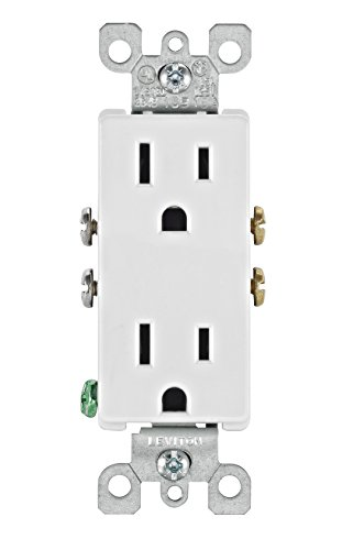 Leviton 5325-WMP 15 Amp, 125 Volt, Decora Duplex Receptacle, Residential Grade, Grounding, White, 10 - Square Outlet