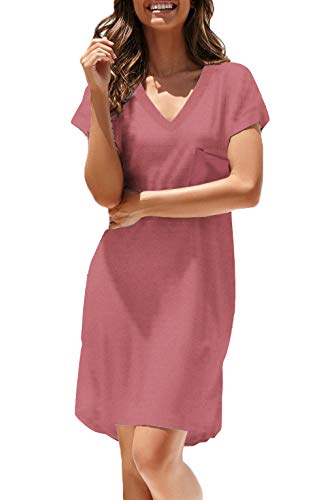 NERLEROLIAN Women T-Shirt Stripe Dress with Pockets V-Neck Knee Length Loose Tunic Summer Dress (Peach Red, Medium)