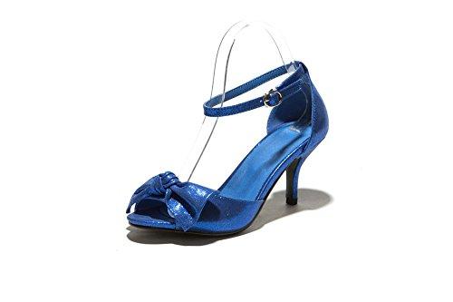 Amoonyfashion Kvinnor Öppen Tå Kattunge Klackar Mjukt Material Fast Spänne Sandaler Mörkblå