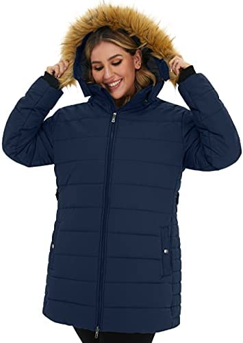 SOULARGE WOMEN'S PLUS SIZE WINTER THICKEN PUFFER COAT WITH FUR TRIM HOOD