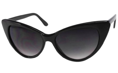 Super Cateyes Vintage Inspired Fashion Mod Chic High Pointed Cat-Eye - Sunglasses Designer Cat Eye