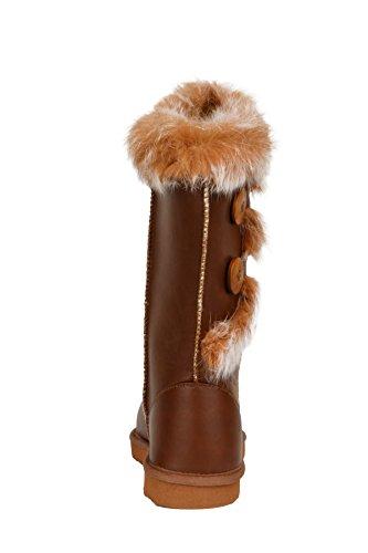 Trim Boots Toe Winter Womens Round Fur Faux Leather Hadari w8qSFIx