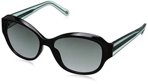 Fossil Women's FOS3028S Oval Sunglasses, Black Crystal Blue & Gray Gradient, 55 - Gray Gradient Blue