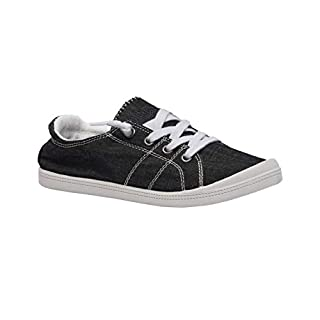 Dunes Sport Women's Reesa Canvas Sneaker, Black, 7.5