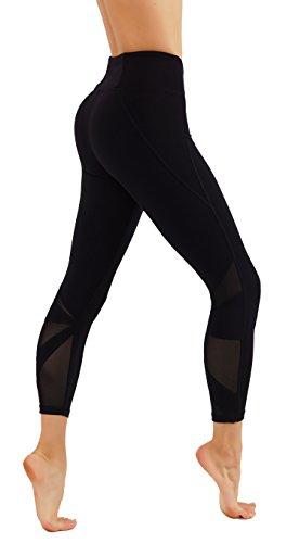 CodeFit Yoga Pants Power Flex Dry-Fit Cut Out Mesh Panels 7/8 Length Leggings (S USA 0-2, CF.812-BLK)