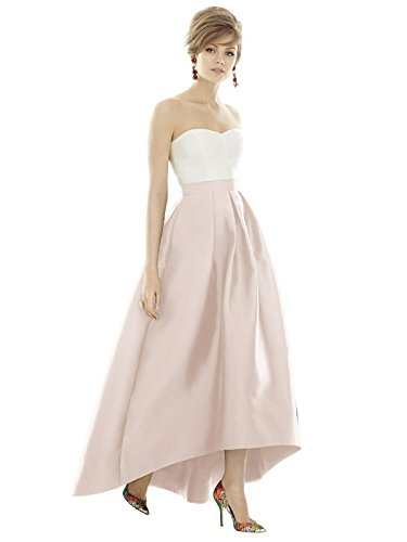 Alfred Sung Style D723S High-Low Sateen Pleated Skirt Formal Dress - Sleeveless V-Neck - Blush - 0 - Alfred Sung Bridesmaid Gowns