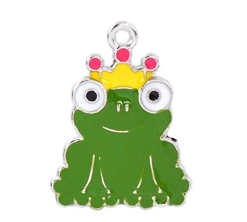 Pendant Jewelry Making Frog Prince with Crown Green Enamel Traditional Charm 1pc