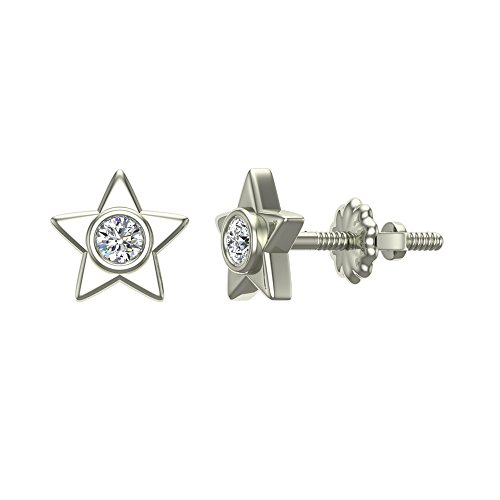 Diamond Earrings Star Shape Studs 10K White Gold - Bezel Setting Screw Back Posts (0.10 carat total)