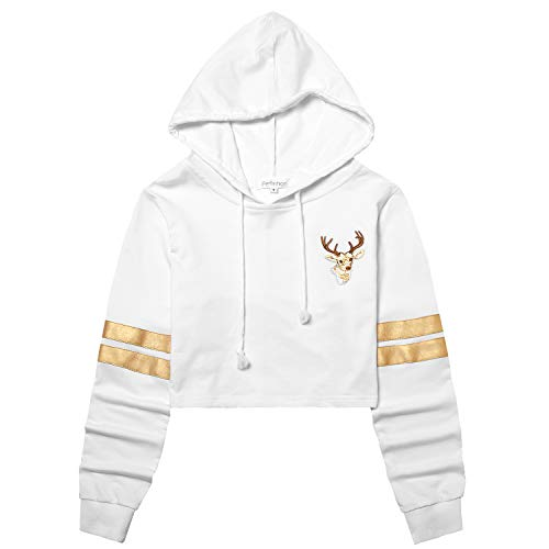 Perfashion Women's Cropped Hoodie Gold Stripes Long Sleeve Elk Embroidered Crop Tops Pullover ()