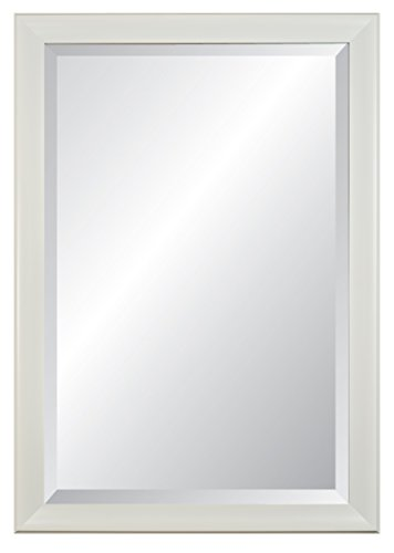 Alpine Innovations White Contour Framed Beveled Glass Wall Mirror,