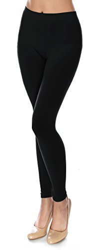 Basic Solid Full Length Footless Tights Leggings Pants - Nylon Premium Quality (One Size (Size 2-10), LG07 Black) (Footless Nylon Tights)
