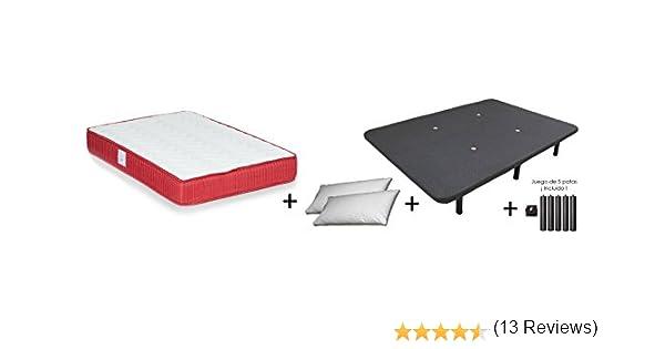 Colchones Dulces Sueños COLCHON VISCO VISCOELASTICO Confort + Base TAPIZADA Maya 3D + 2 Almohada Microfibra Mash (135x190): Amazon.es: Hogar