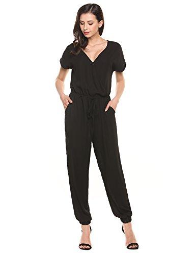 Jumpsuit Womens (BEAUTYTALK Women Sexy Plunge V Neck Confortable Jumpsuits Dress,Black,M)