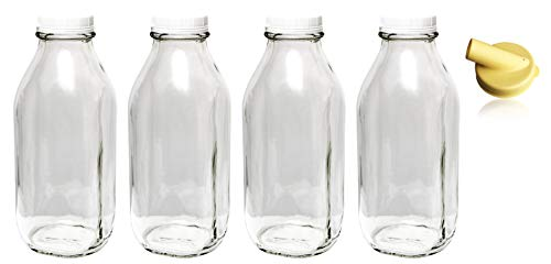 The Dairy Shoppe Heavy Glass Milk Bottles 33.8 Oz (1 Qt) Jugs with Extra Lids & NEW Pour Spout! (4, 33.8 oz) (With Jugs Drinking Lids)