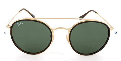 Ray-Ban RB3647N Round Double Bridge Sunglasses, Gold/Green, 51 ()