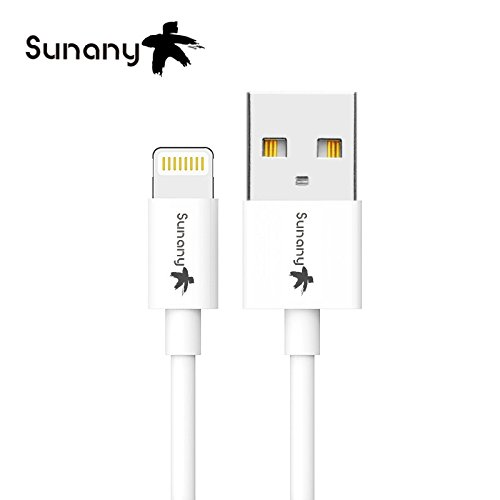 [Apple MFi Certified] Sunany 3.3ft / 1m Premium Lightning to USB Cable with Ultra Compact Connector Head for iPhone, iPod and iPad With Phone Stents Bobbin Winder In Dual - Head Bobbin