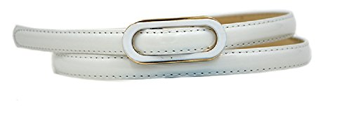 [Fashion Women's Candy Solid color PU leather Covered Buckle Patent Skinny Belt Thin Skinny Waistband White] (Patent Leather Covered Buckle Belt)
