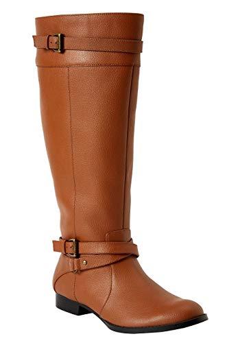 Comfortview Women's Plus Size The Janis Wide Calf Boot - Cognac, 8 1/2 ()