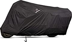 The Dowco 50003-02 WeatherAll Plus motorcycle cover is waterproof, breathable, and helps protect against rain, mildew, and fading caused by the sun's UV rays. Constructed of heavy-duty ClimaShield Plus fabric protection, a 300 Denier, and sol...