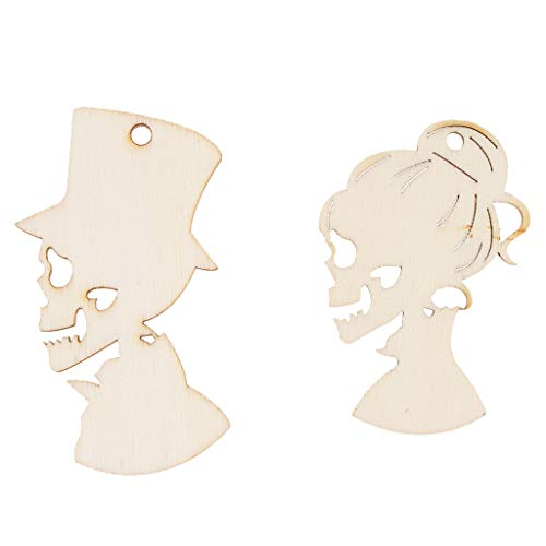 SM SunniMix Pieces of 10 Female Male Skeleton Wooden Gift Tags Card Making Message Holder Labels Craft Halloween Xmas Tree Ornament