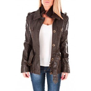 Veste femme faux cuir marron