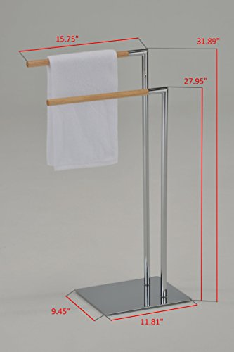 Kings Brand Chrome/Natural Finish Metal With Wood Towel Rack Stand by Kings Brand Furniture (Image #1)