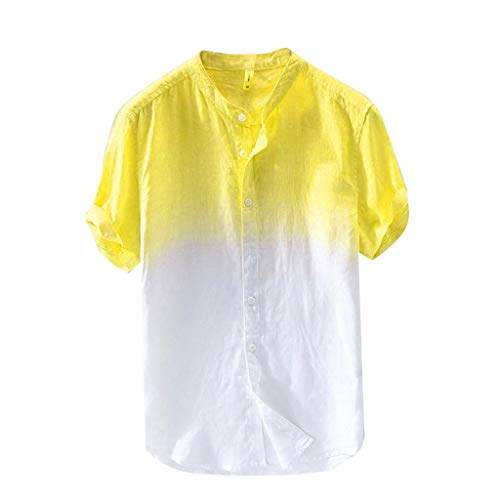 Masun Men Top Summer Casual Breathable Hanging Dyed Gradient Button Down T-Shirt Short Sleeve Cool and Thin Cotton Shirt Yellow