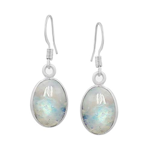 Moonstone Dangle Earrings 925 Silver Plated Handmade Jewelry For Women Girls