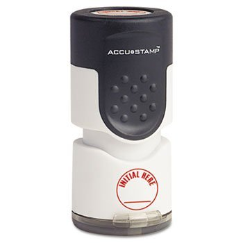 """Free COSCO Accustamp Pre-Inked Round Stamp with Microban, INITIAL HERE, 5/8"""", Red"""