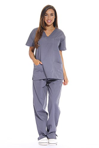 (Just Love 22229-Grey-3X Women's Grey Scrub Set - 3X)