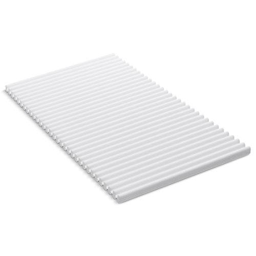 """KOHLER Storable Silicone Dish Drying Mat or Trivet 7"""" x 11.8"""", Heat Resistant up to 500 Degrees F, White"""
