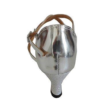 Maßfertigung-Maßgefertigter Absatz-Kunstleder-Lateintanz / Salsa-Damen silver silver Salsa-Damen 602067