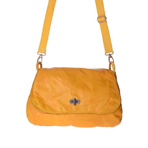Dudu Grande Saffron Tinta In Capo Pelle Tracolla Di Borsa Lavata Con Yellow Patta OZRwvqxE