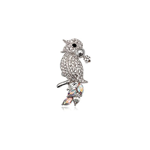 (Blue Pearls - White Crystal Parrot Brooch and Rhodium Plated - CRY 8505 T CRY 8505 T)