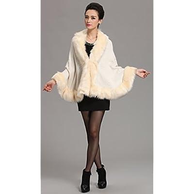 Caracilia Women Bridal Faux Fur Shawl Wraps Cloak Coat Sweater Beige2 at Women's Coats Shop