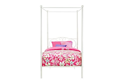 31rgrbfHXhL - DHP Canopy Bed with Sturdy Bed Frame, Metal, Twin Size - White