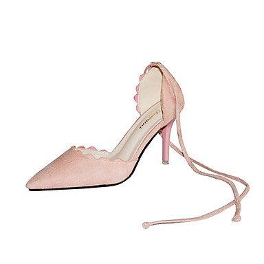 Talones de las mujeres Primavera Verano Otoño Zapatos de cuero del club Oficina al aire libre y carrera vestido de tacón de aguja del Bowknot Rosa Verde Negro Caminar Pink