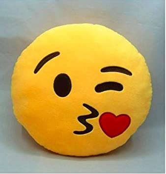 AK Creations Cotton Hand Made Smily Pillow Special for Kids and Girls (Yellow)
